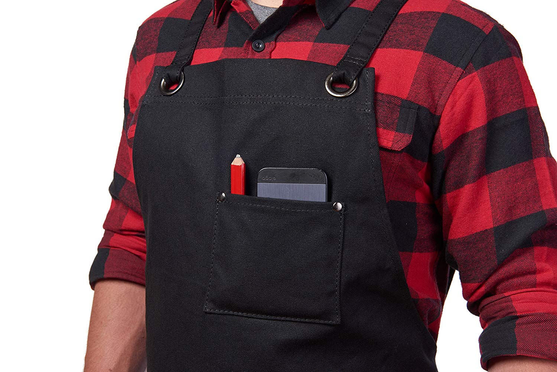 Heavy Duty Waxed Canvas Work Apron with Tool Pockets