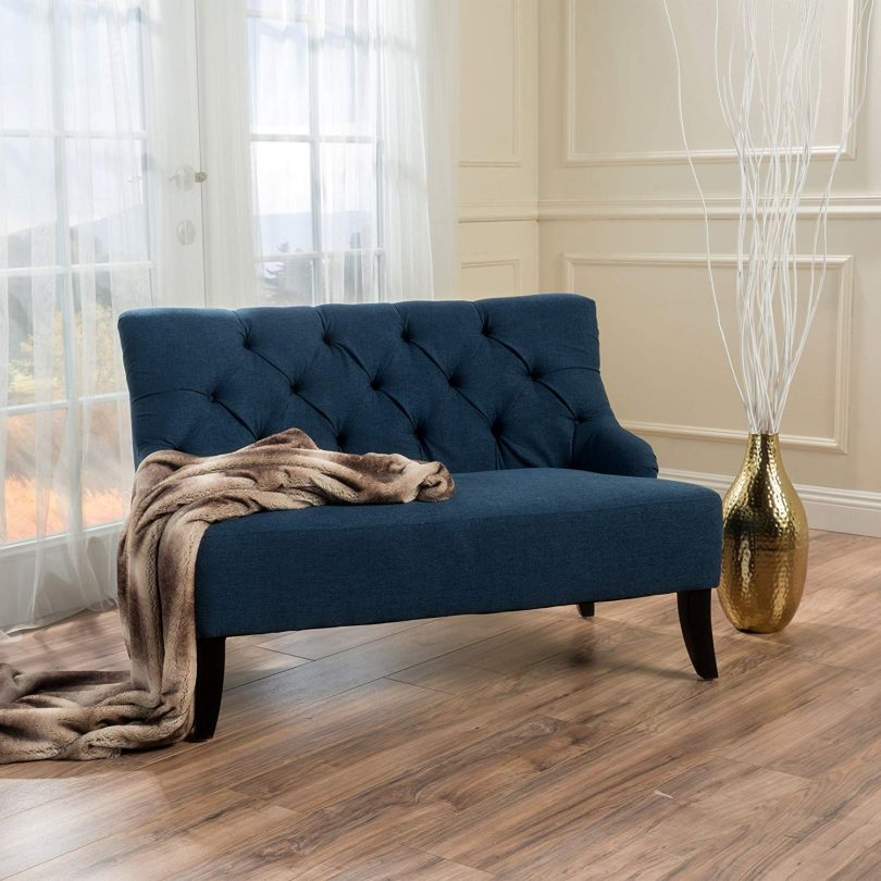 Christopher Knight Home Nicole Dark Blue Fabric Settee
