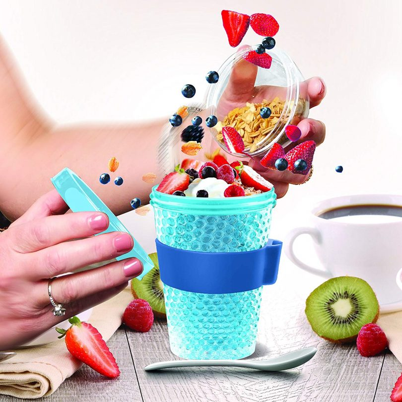 Asobu Chill Yo2go for a 13 Ounce Cold Yogurt Parfait Breakfast On The Go with a Melamine Spoon and Silicone Holder
