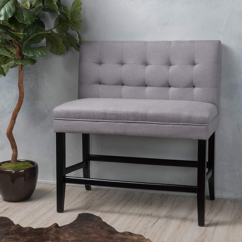 Christopher Knight Home Kenan Light Grey Fabric Barstool Bench