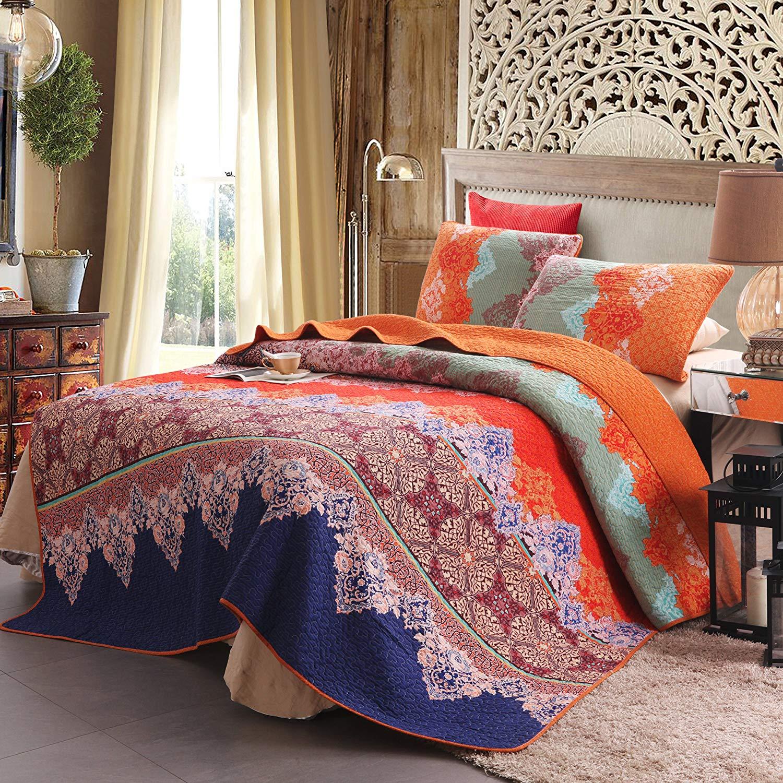 Exclusivo Mezcla 100% Cotton 3-Piece Rich Printed Boho Quilt Set