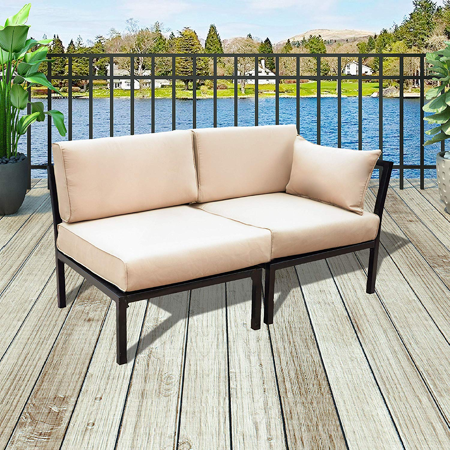 Patio Festival Loveseat,Outdoor Metal Furniture 2 Seat All-Weather Sectional Corner Sofa Set