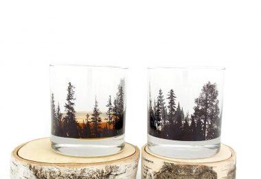 Whiskey Glasses – Forest Landscape