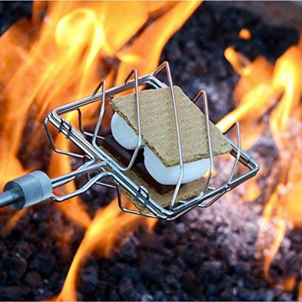 Grubstick | 4 Piece Kit | Telescopic Extendable Campfire Fireplace Skewer with Interchangeable Attachments