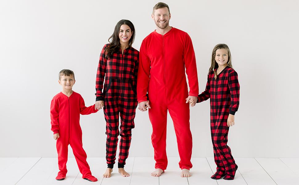 Sleepyheads Family Matching Fleece Buffalo Plaid and Solid Red Onesie Pajamas