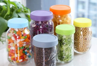 Aozita [12 Pack] Colored Plastic Mason Jar Lids for Ball, Kerr and More