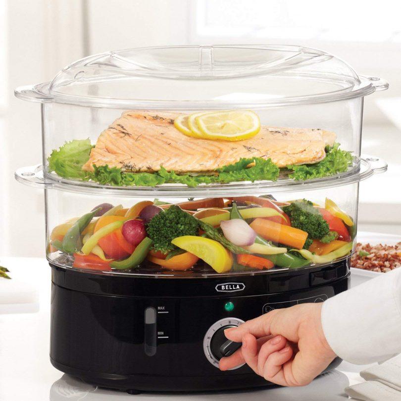 BELLA (13872) 7.4 Quart 2-Tier Stackable Baskets Healthy Food Steamer