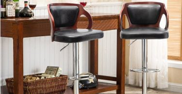 Homall Bar Stools Walnut Bentwood Adjustable Height Leather Modern Barstools