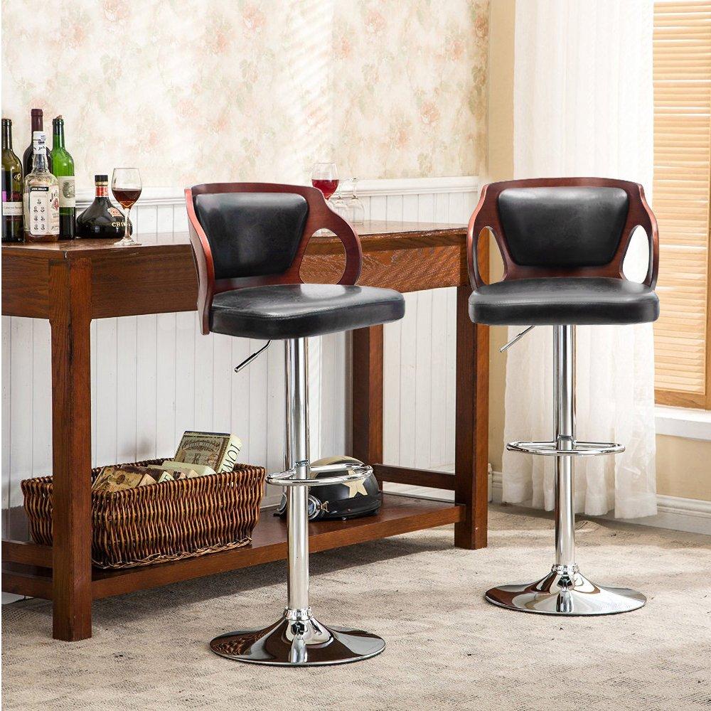 Homall Bar Stools Walnut Bentwood Adjustable Height Leather Modern Barstools