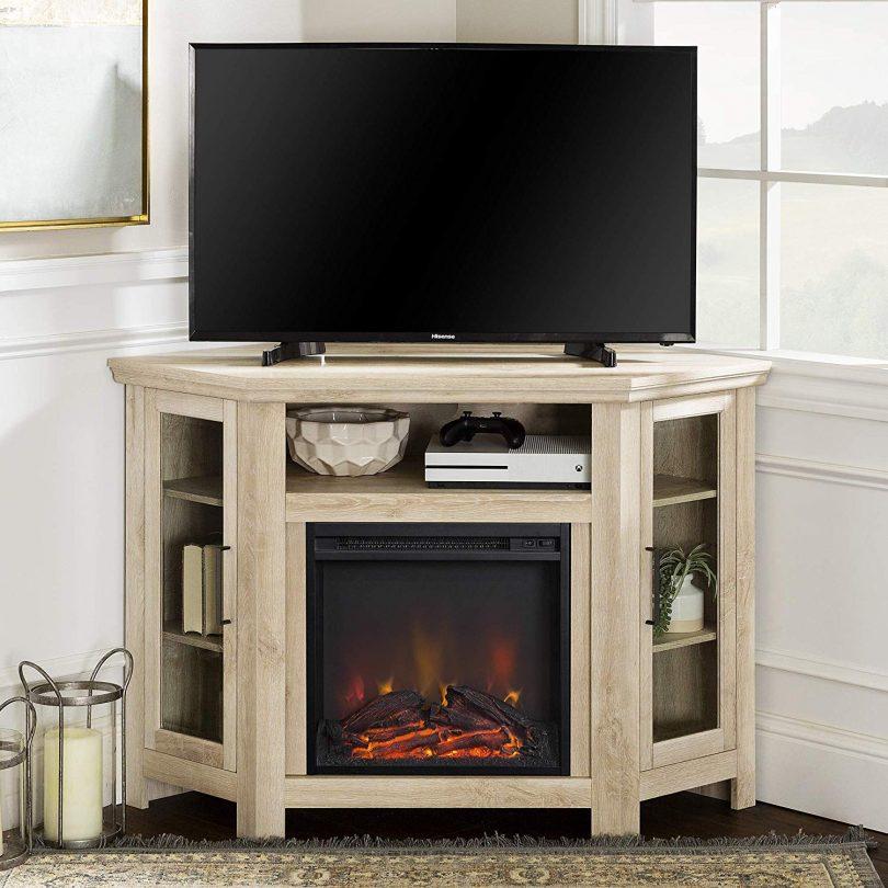 Walker Edison Furniture Company Tall Wood Corner Fireplace