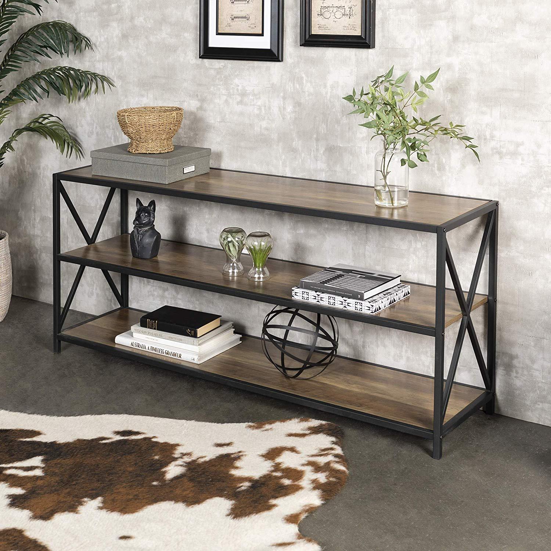 Walker Edison Furniture Company 2 Shelf Industrial Wood Metal Bookcase Bookshelf Storage
