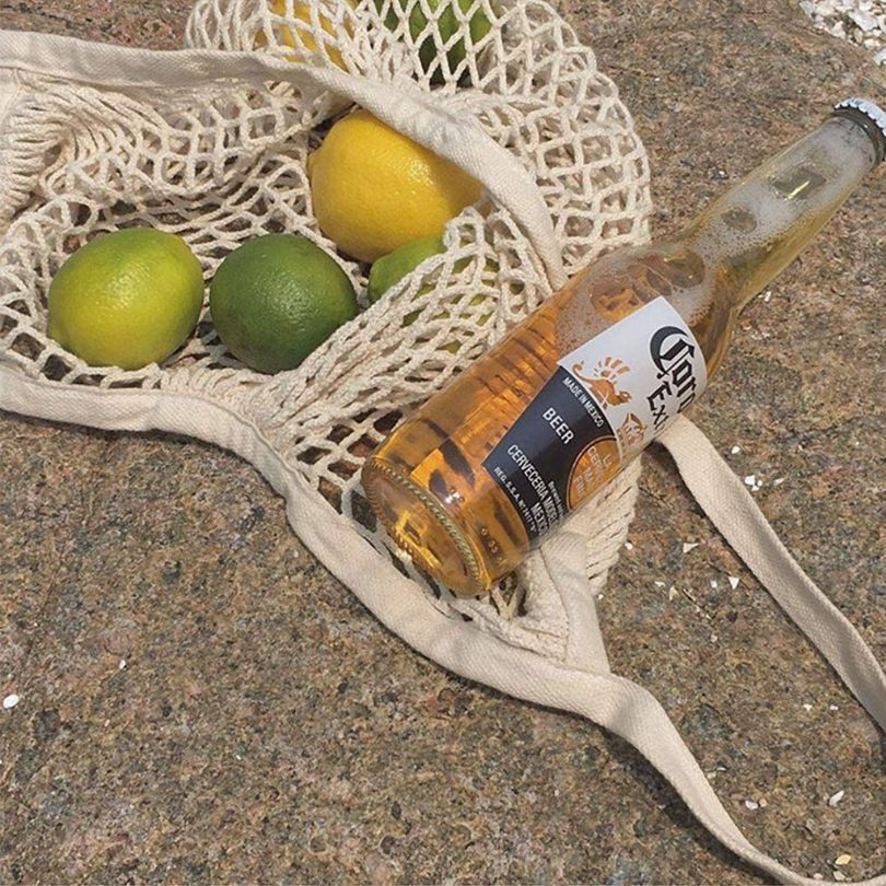 Pack of 5 Portable/Reusable/Washable Cotton Mesh String Organic Organizer Shopping Handbag