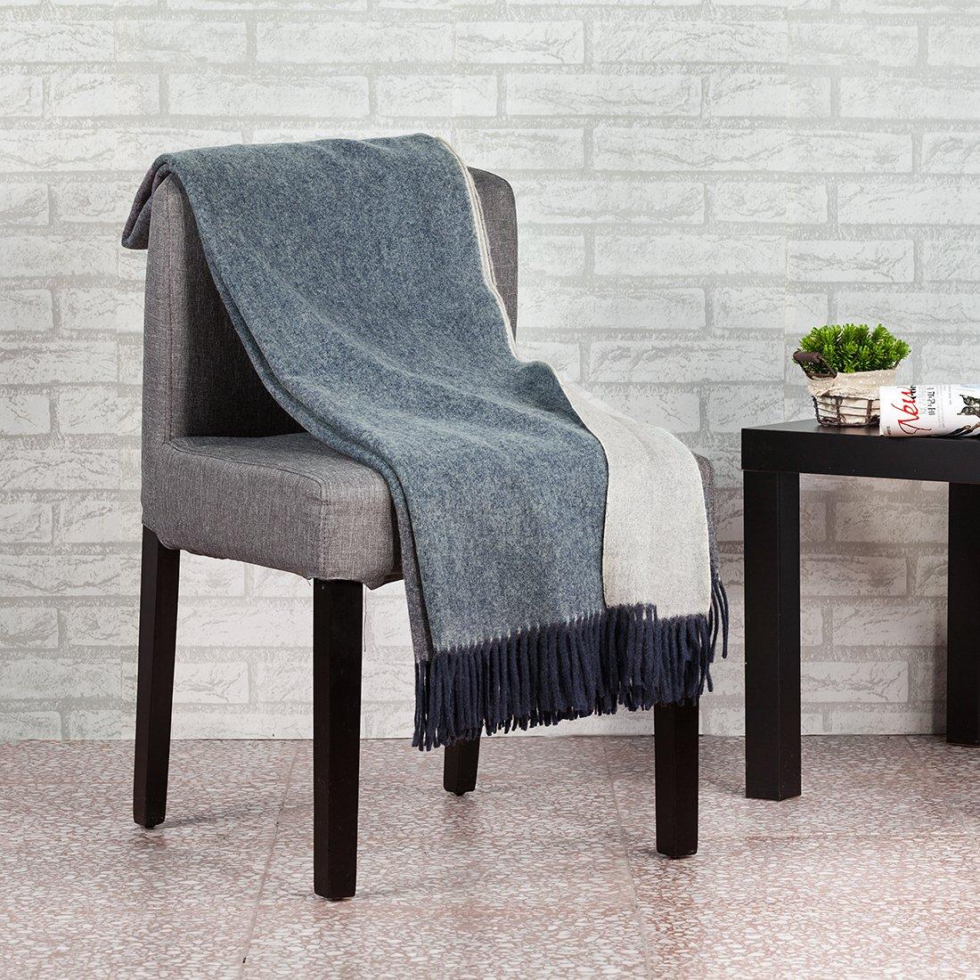 spencer & whitney Blanket Throws Wool Blanket Denim Blue