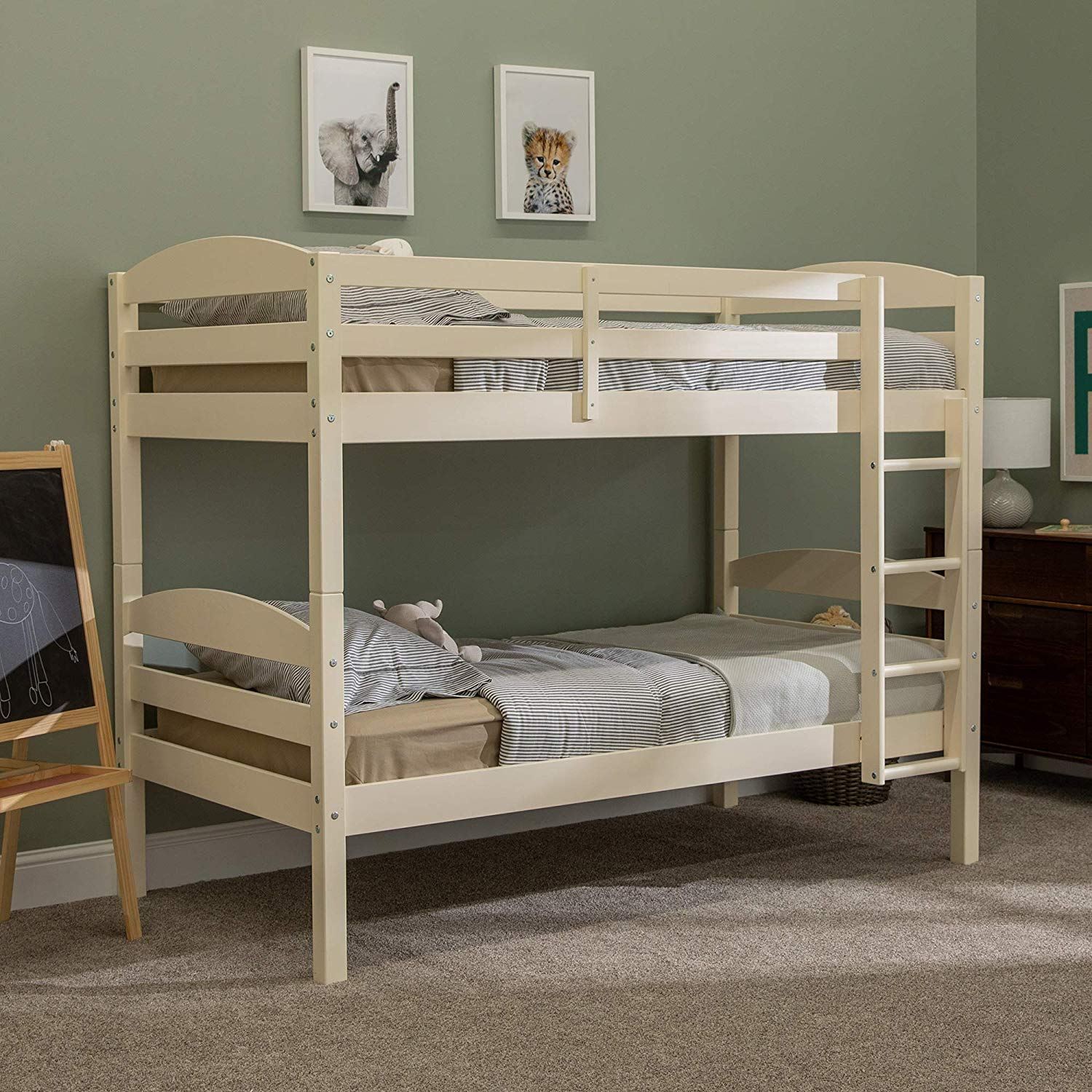WE Furniture Wood Twin Bunk Kids Bed Bedroom with Guard Rail and Ladder Easy Assembly