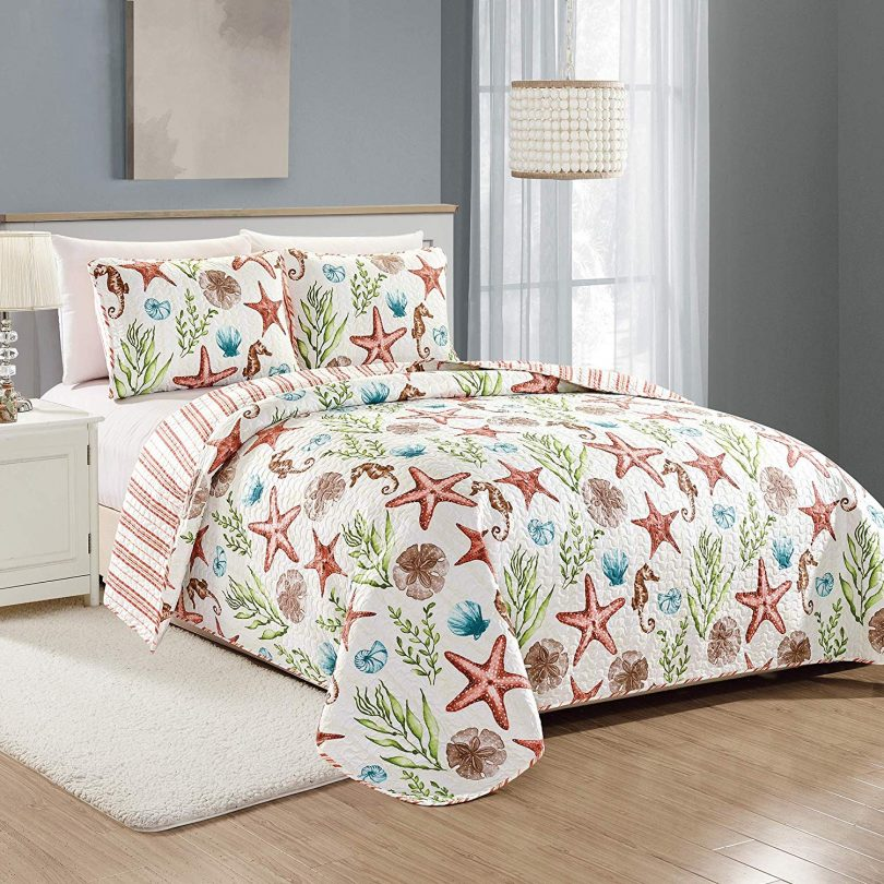 Great Bay Home Castaway Coastal Collection 3 Piece Quilt Set