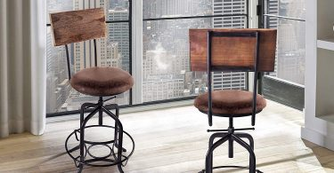Armen Living Damian Adjustable Barstool in Brown Fabric and Brushed Stainless Steel Finish