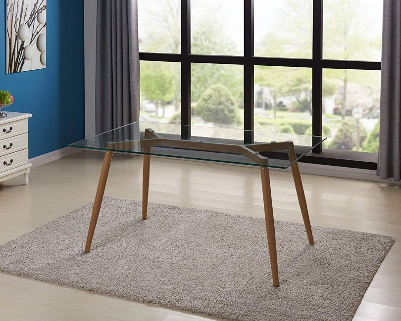 IDS Online Mid Century Glass Dining Table With Foot Pad