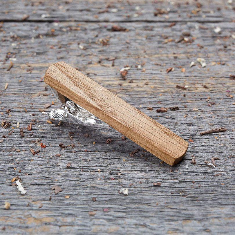 Oak Wood Tie Clip