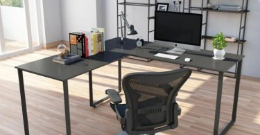 Office Star Prado Complete L-Shaped Desk With Laminate Top and Metal Legs