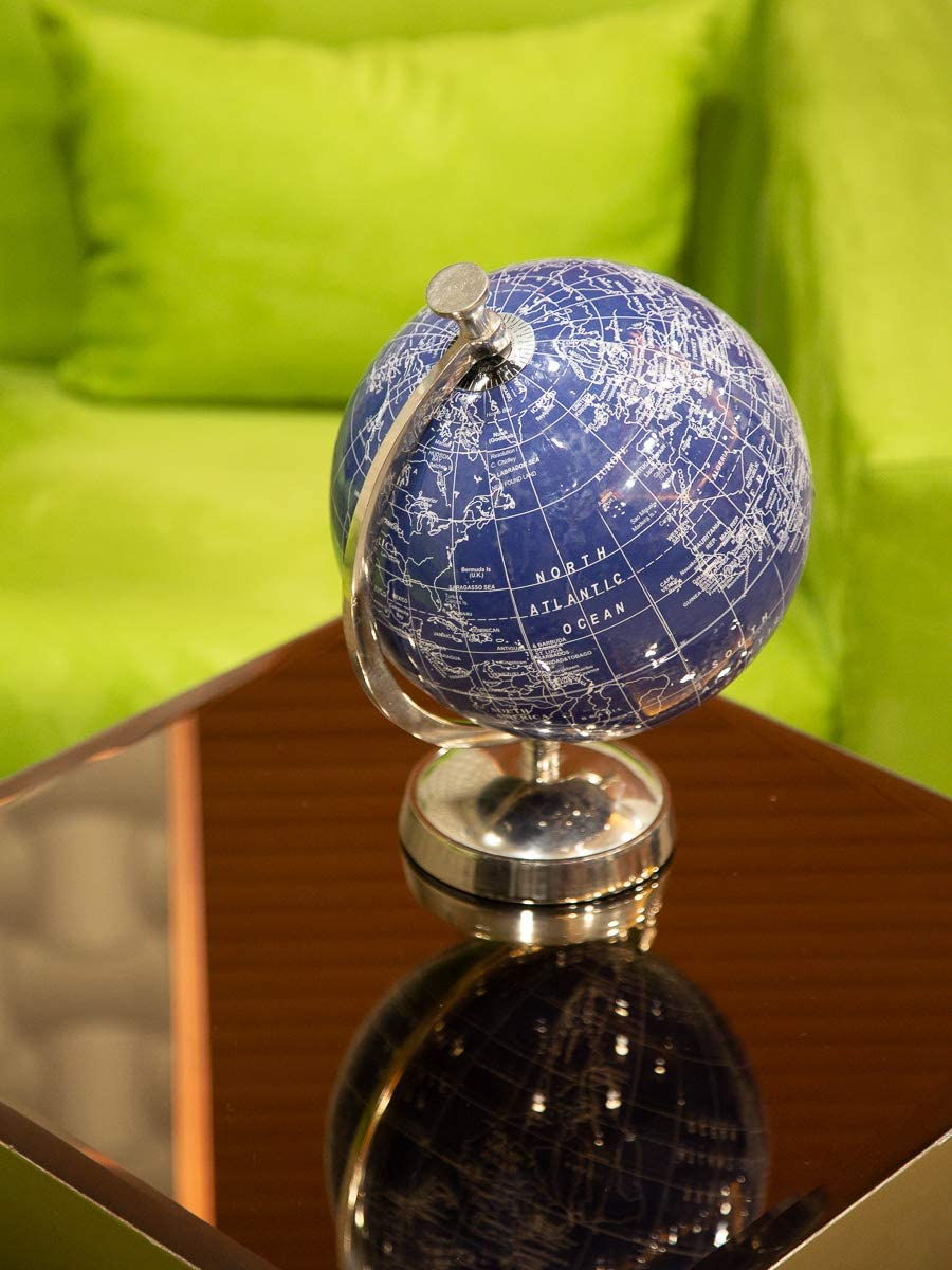 Casa Décor Travel Engine Globe with Nickel Plated Metal