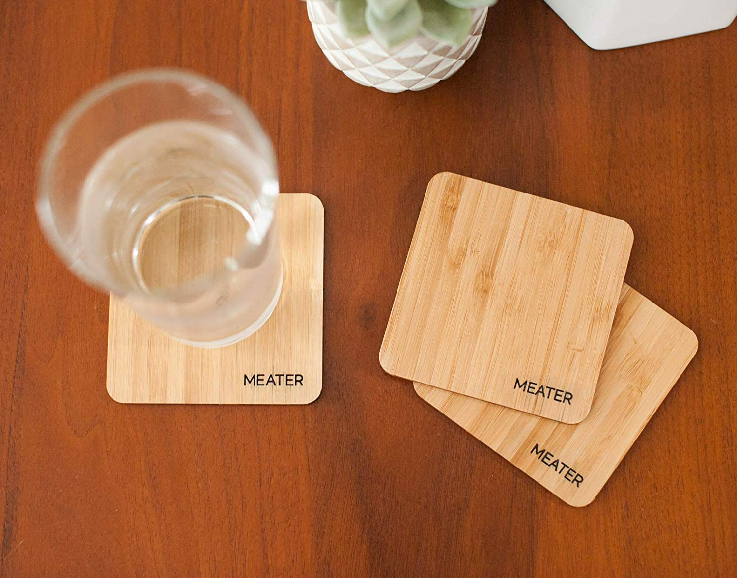 MEATER Natural Bamboo Drink Coasters