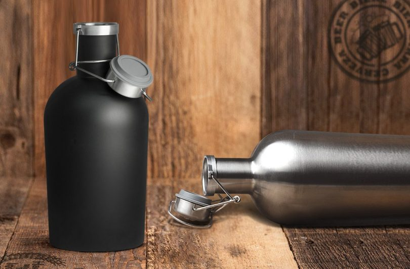 Asobu Stainless Steel 64 Ounce Beer Growler with an Insulating and Protective Neoprene Sleeve