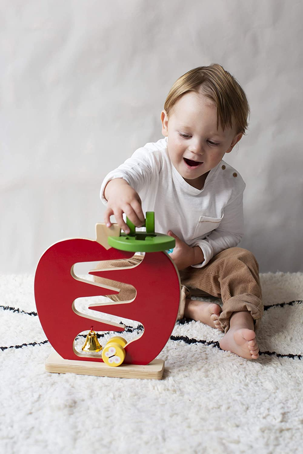 Petit Collage Eco-Friendly Wooden Apple Racer Toddler Toy