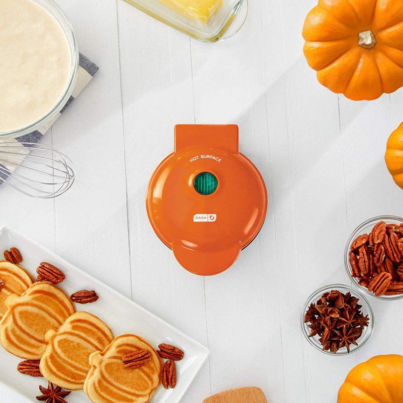 Mini Waffle Maker Machine for Pumpkin Shaped Individual Waffles
