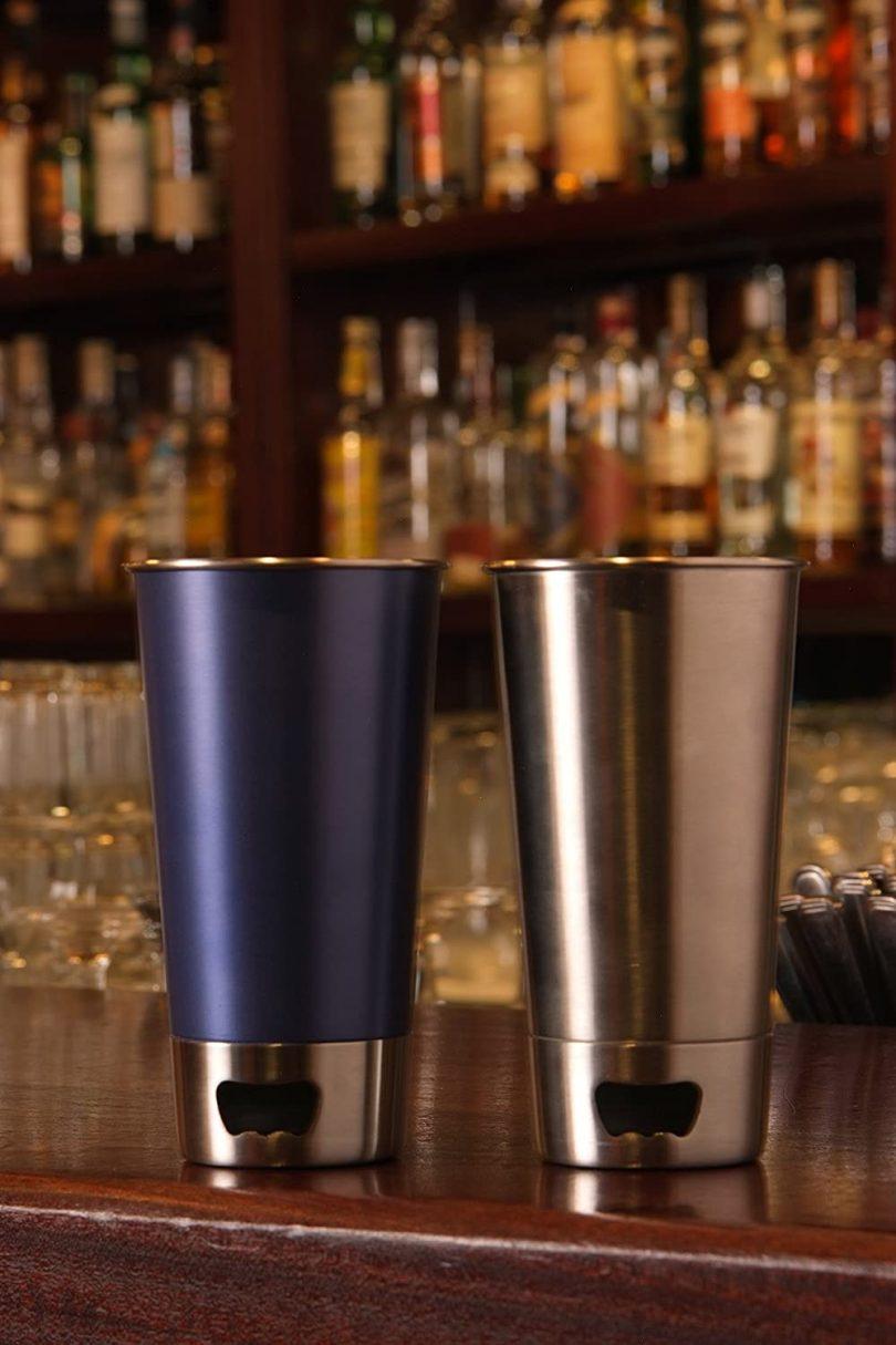 Beer Pint Stainless Steel Beer Mug with Beer Opener Base