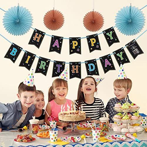 Happy Birthday Banner With 4 Fans