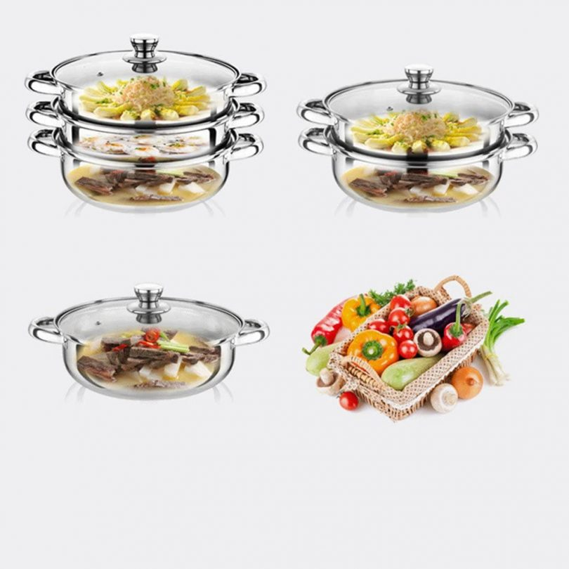 Yamde 2 Piece Stainless Steel Stack and Steam Pot Set