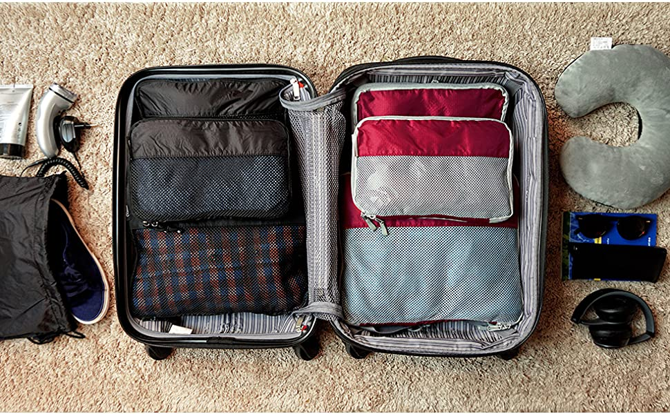 TRAVEL DUDE Compression Packing Cubes Set made of Plastic Bottles