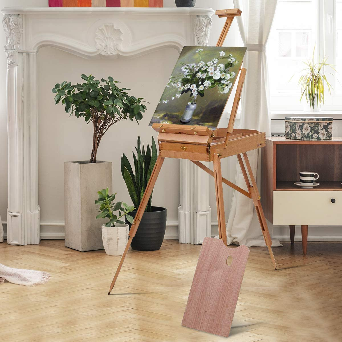 Tangkula Wooden French Easel Stand with Sketch Box