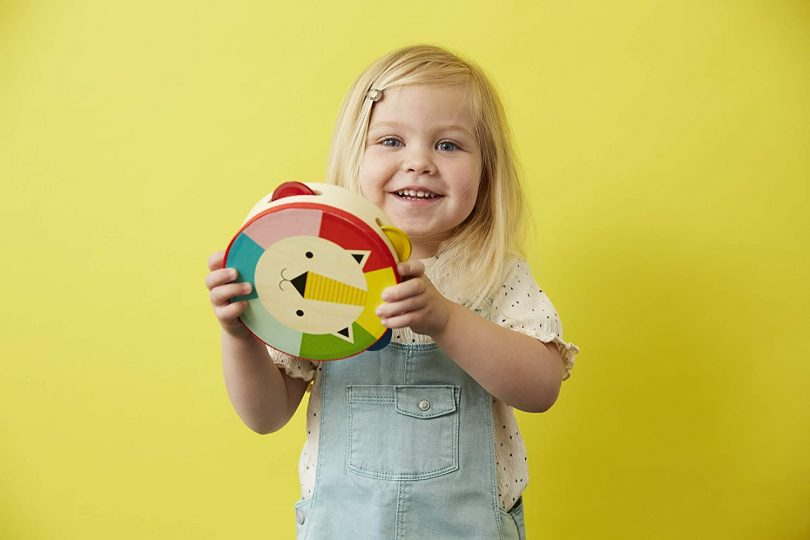 Petit Collage Toddler Wooden Lion Toy Tambourine