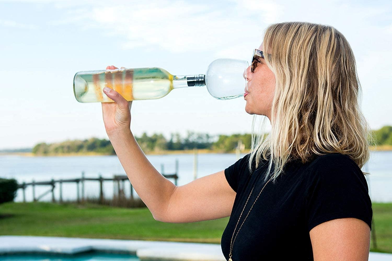 Guzzle Buddy Wine Bottle Glass 16 Oz