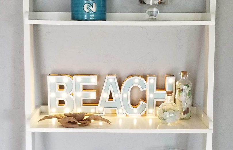 Illuminated Marque Style Beach Word LED