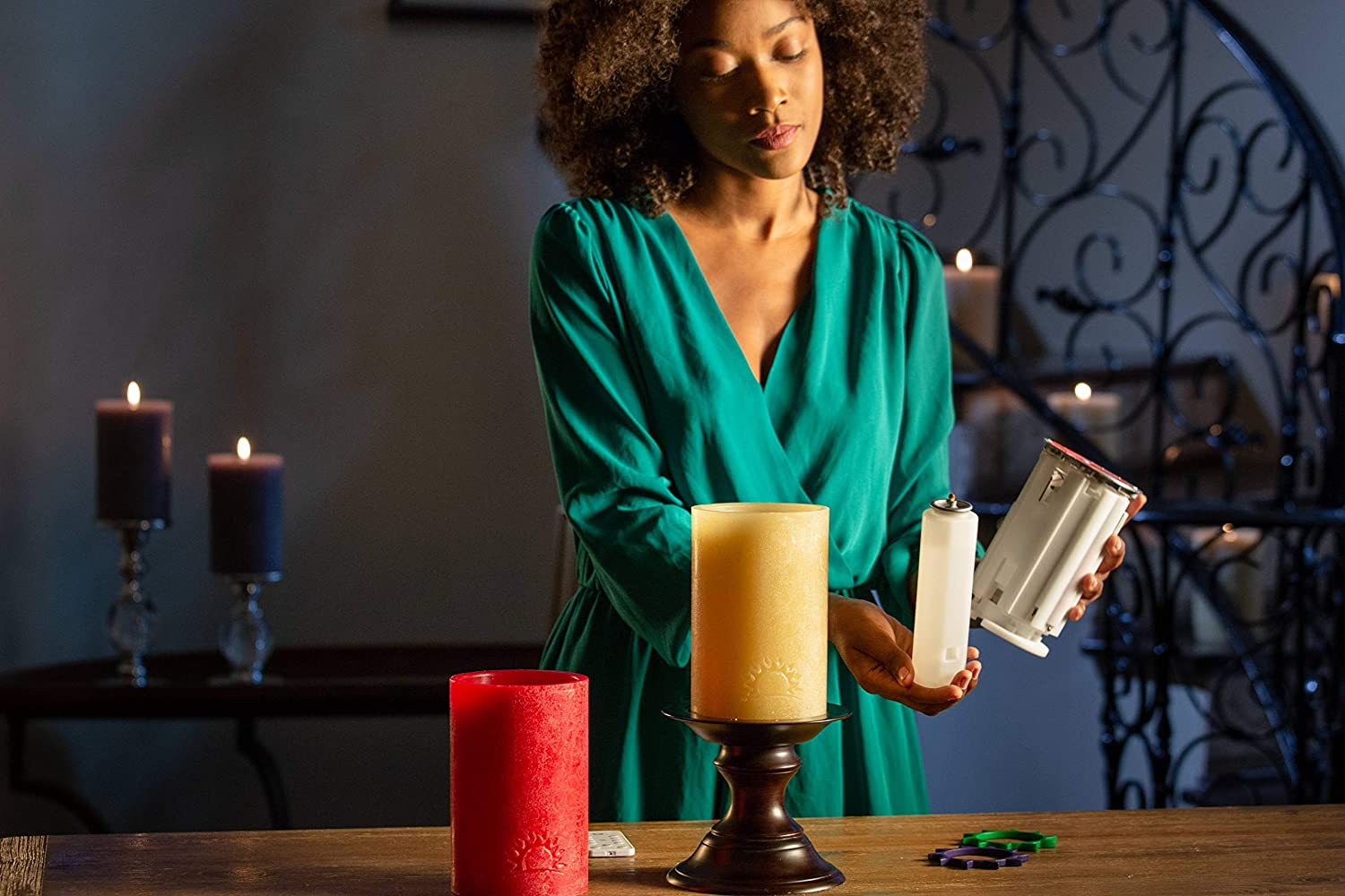 LuDela SunScent Fragrance Rings Remote Control Real-Flame Candle