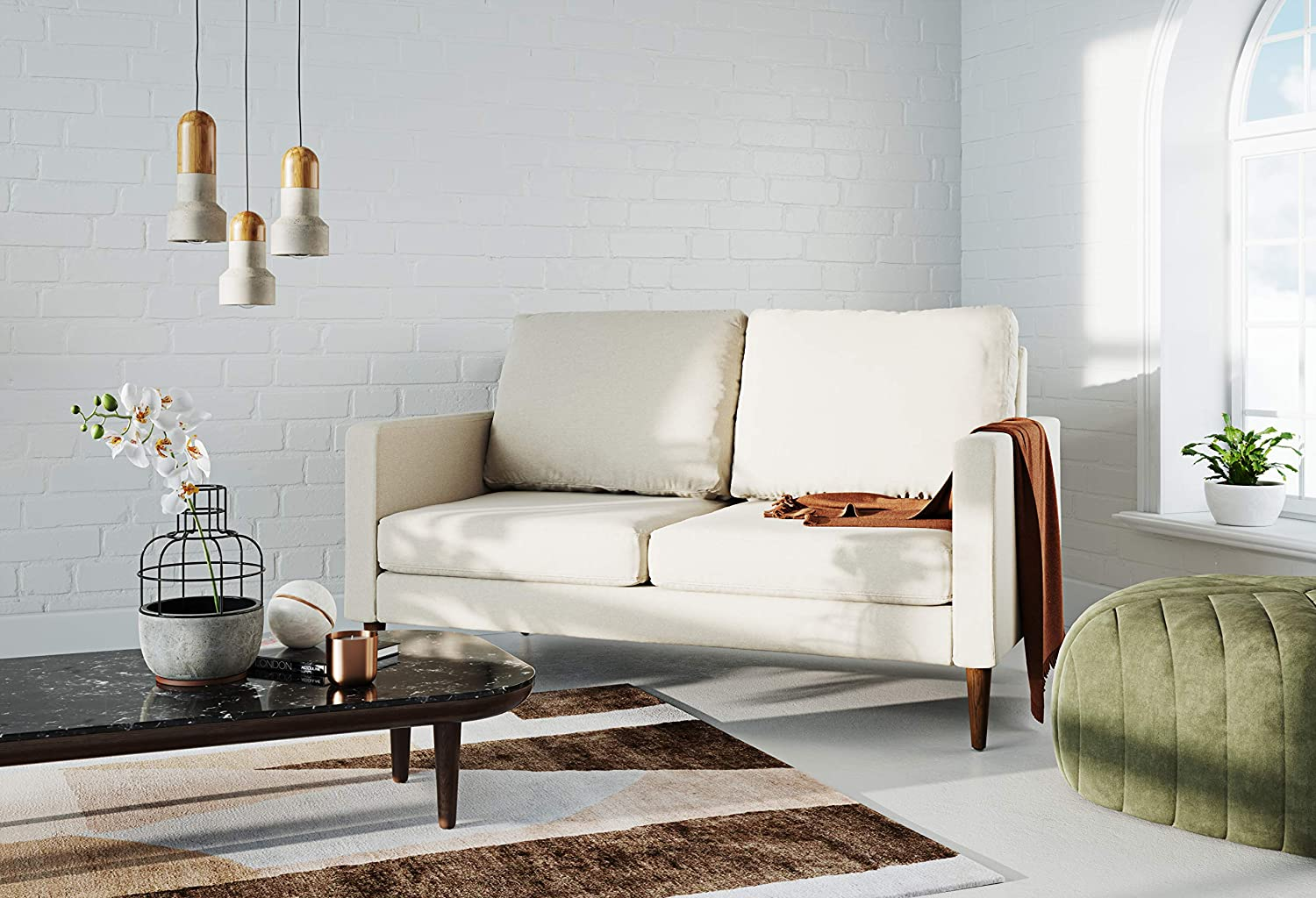 Campaign Steel Frame Brushed Weave Loveseat