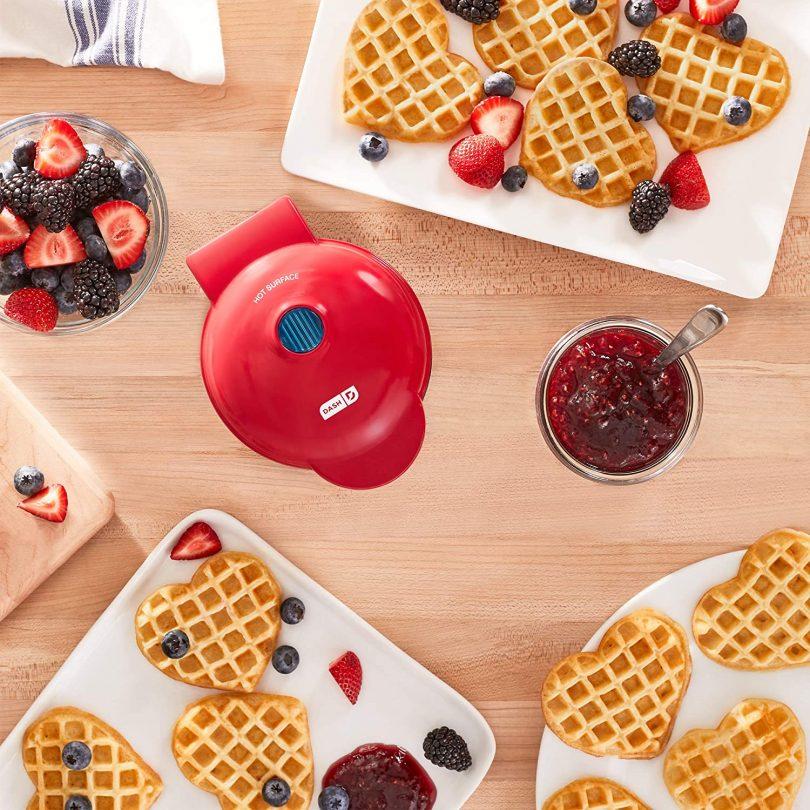 Mini Waffle Maker Machine for Heart Shaped Portions