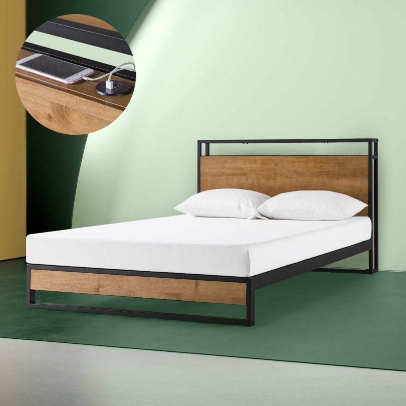 Zinus Suzanne Metal And Wood Platform Bed 187 Petagadget