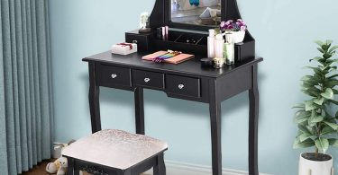 SUMSAYEI 2020 New Vanity Set with Mirror & Cushioned Stool