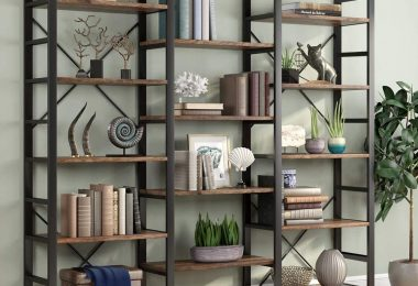 Tribesigns Rustic Triple Wide 5-Shelf Bookcase