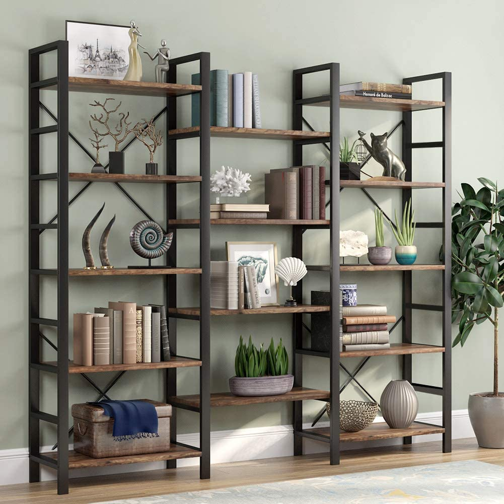 Tribesigns Rustic Triple Wide 5-Shelf Bookcase
