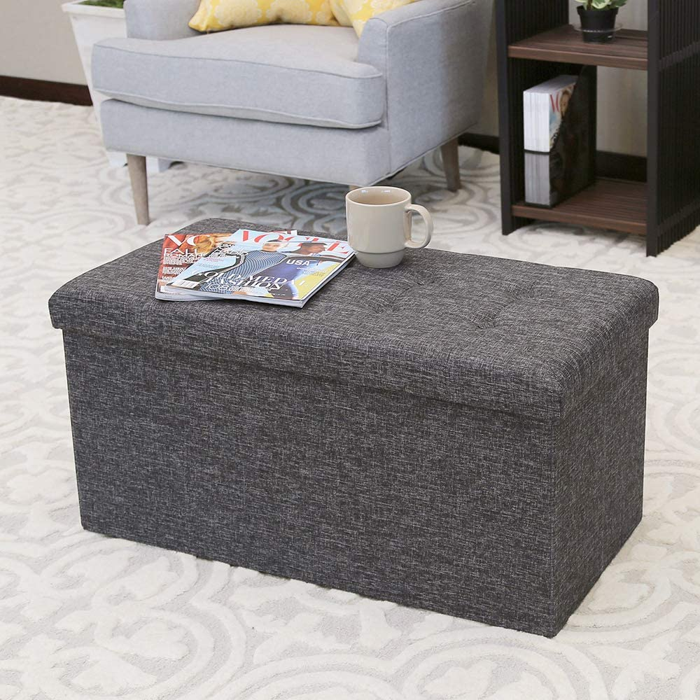 Seville Classics 31.5″ Foldable Tufted Storage Bench Footrest