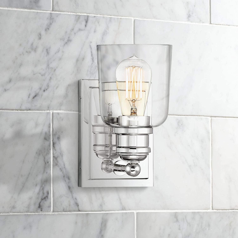 Preston Modern Wall Light Sconce Polished Nickel Hardwired