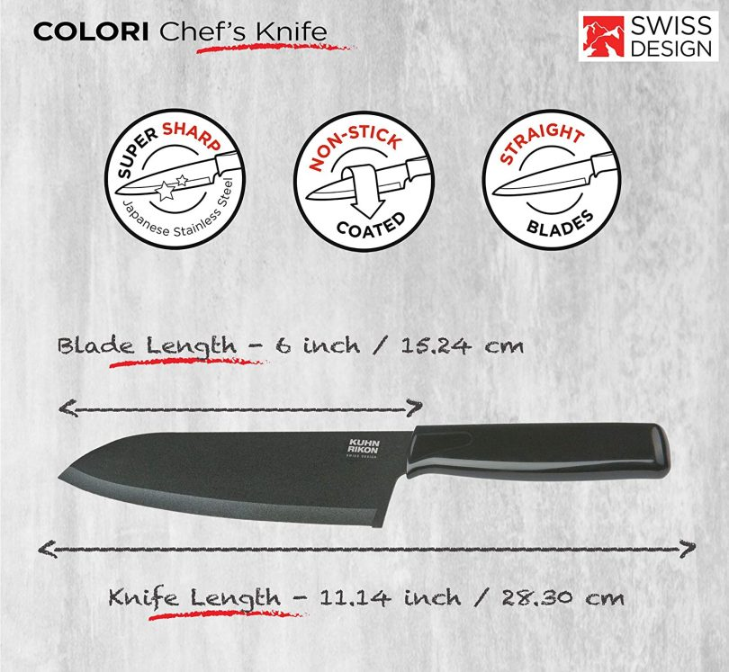 Kuhn Rikon COLORI Chef's Knife with Safety Sheath