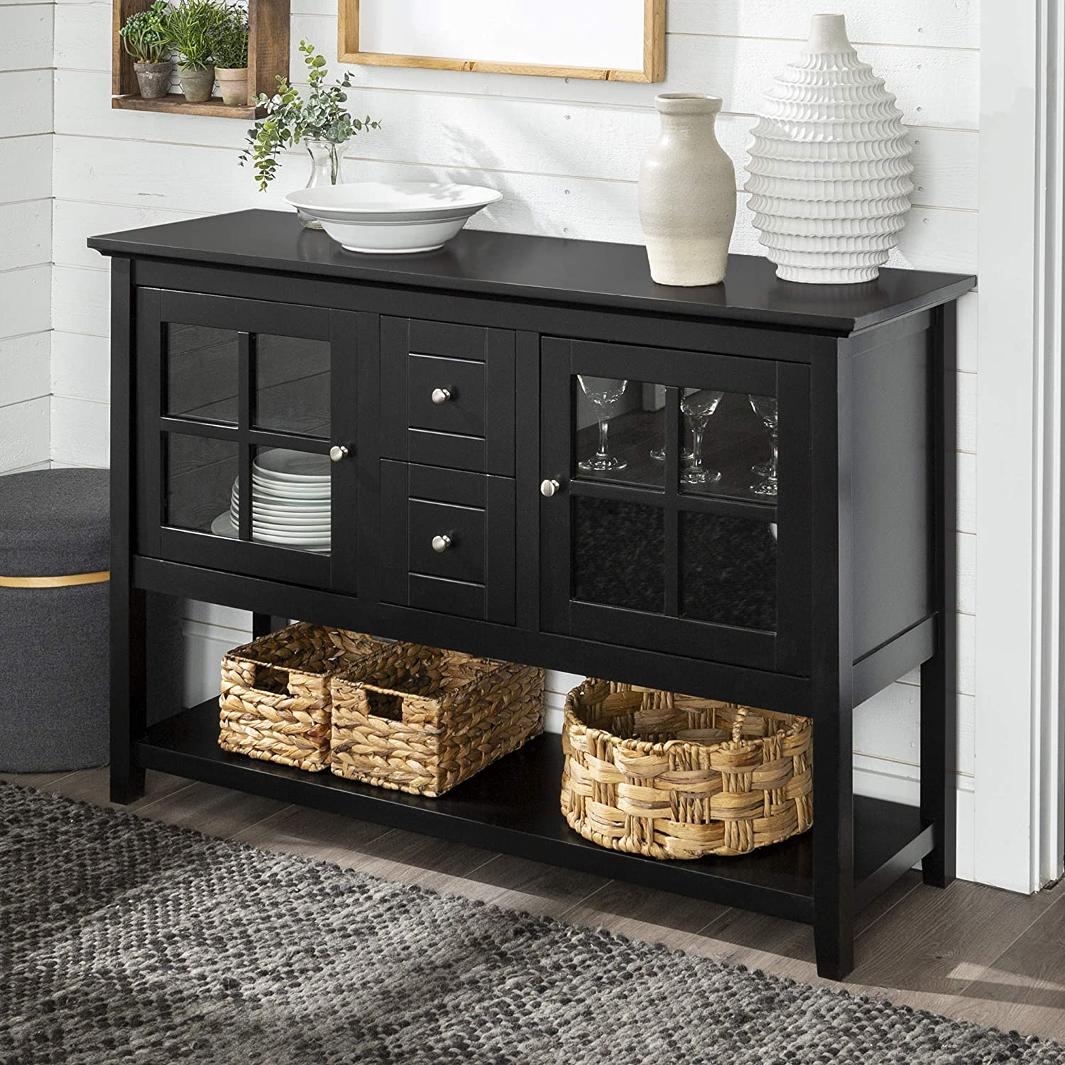 WE Furniture Rustic Farmhouse Wood Buffet