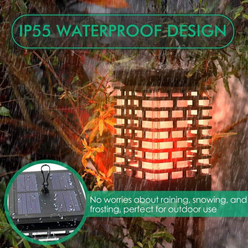 Solar Lantern Lights Flickering Flame Outdoor Garden Lamp