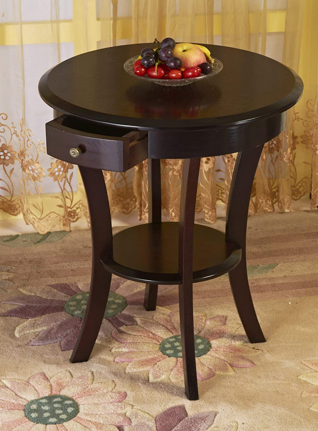Wood Round Table with Drawer & Shelf