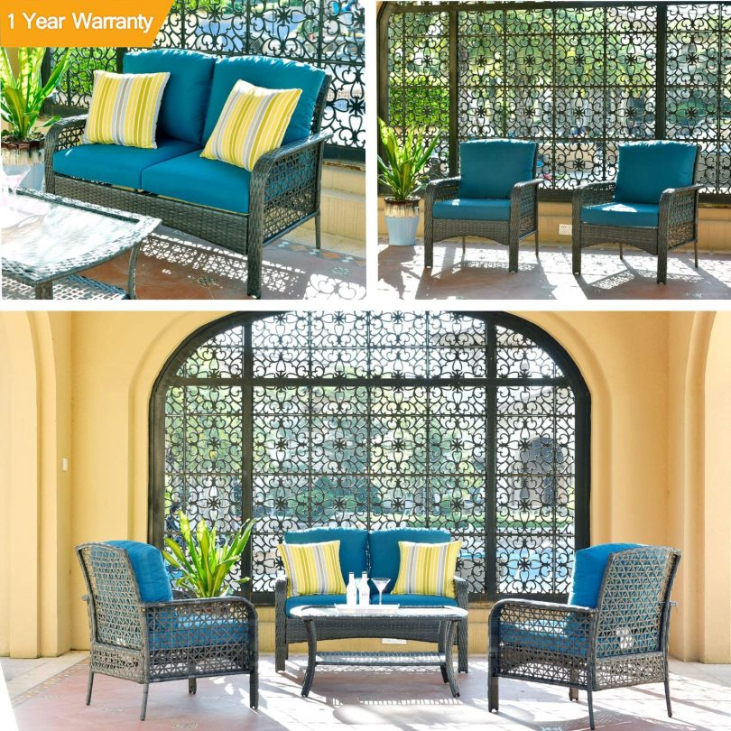 ovios 4 PCs Patio Furniture Set